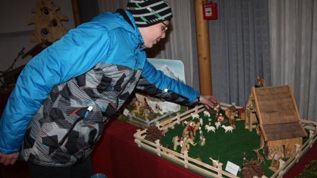 Roman Wachter zeigt seine Krippe, die er zusammen mit seinem Opa gebaut hat.