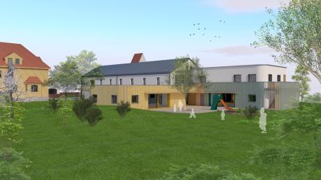 """Nach den Plänen des Architekten Horst Hafenmayer soll das neue """"Kinderquartier Obermeitingen"""" mit der umgebauten alten Schule und den Anbauten für zwei Kinderkrippen und dem Hort so aussehen."""