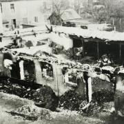 Nur noch Schutt und Asche: Die Schrannenhalle nach dem Luftangriff.