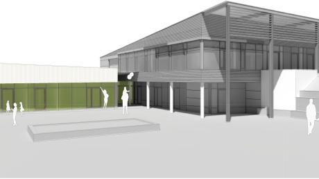 So soll das erweiterte Kinderhaus St. Martin in Langenneufnach nach Fertigstellung aussehen. Insgesamt verfügt es nach der Erweiterung über acht Gruppen.