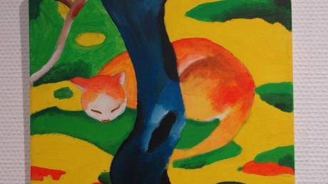 Franz Marcs Tierbilder waren wohl das künstlerische Vorbild für diese schlafende Katze.