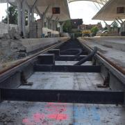 Ein großer Teil der Gleise für die Verlängerung der Straßenbahn liegen schon, am ZOB entsteht die Wendeschleife.