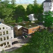 So soll das Probenzentrum zwischen Wasserturm und alter Pestalozzi-Schule aussehen.