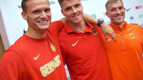 Die deutschen Zehnkämpfer bei der WM: Pascal Behrenbruch (l), Rico Freimuth (M)und Michael Schrader.