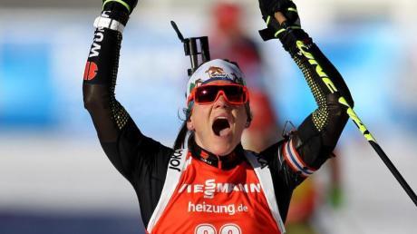 Nadine Horchler feierte in Antholz ihren ersten Weltcup-Sieg. Foto: Andrea Solero
