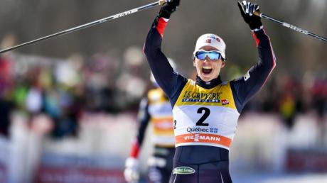 Die Norwegerin Marit Björgen hat sich den Sieg im Verfolgungsrennen über 10 Kilometer geholt. Foto: Johann Lundberg