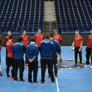 Vorbereitung auf Serbien: Das DHB-Team beim Training. Foto: Soeren Stache