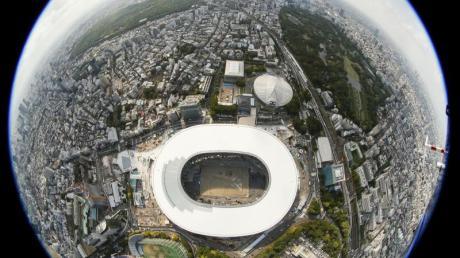 Foto mit einer 180-Grad-Panoramakamera: Das neue Nationalstadion und Wettkampfstätten für Olympia 2020.