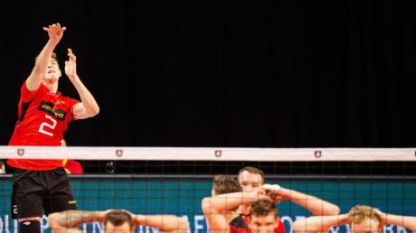Sind mit zwei Niederlagen in die EM gestartet: Die deutschen Volleyballer. Foto:Jonas Roosens/BELGA