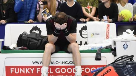 Andy Murray vergoss nach seinem Turniersieg in Antwerpen Freudentränen. Foto: John Thys/Belga/dpa