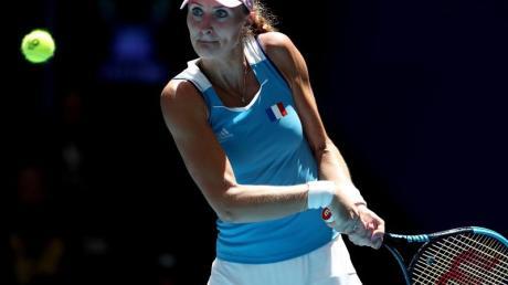 Die Französin Mladenovic (Im Bild) setzte sich mit Garcia im abschließenden Doppel gegen die Australierinnen durch. Foto: Gary Day/AAP/dpa