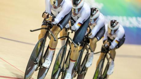 Hat die Mannschaftsverfolgung beim Weltcup in Hongkong gewonnen: Der deutsche Bahn-Vierer.