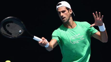 Novak Djokovic beim Training in Melbourne.