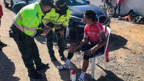 Glück im Unglück: Nairo Quintana (r) nach seinem Trainingsunfall in Kolumbien.