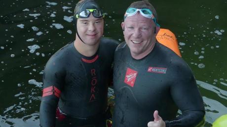 Chris Nikic und sein Trainer Daniel Grieb.