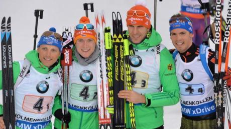 Erik Lesser, Benedikt Doll, Arnd Peiffer und Simon Schempp (v.l.) holten WM-Silber.