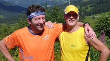 Andreas Greppmeir (links) und Karl-Heinz Berger beim Allgäu-Panorama-Marathon in Sonthofen.
