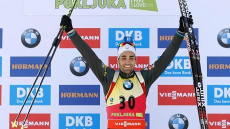 Der Franzose Martin Fourcade sicherte sich beim Biathlon in Pokljuka seinen vierten Saisonsieg.
