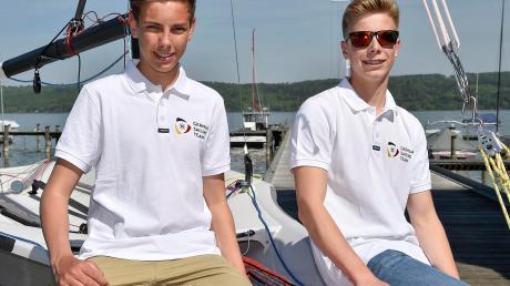 Jonas Schupp und Moritz Hagenmeyer (rechts) vom Diessner Segel-Club sind Junioren-Europameister im 29er geworden.