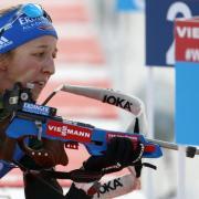 Zurück in der Loipe: Biathletin Franziska Preuß. Foto: Darko Bandic/AP