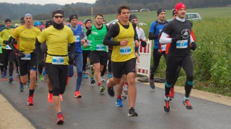 Die Teilnehmer des Crosslaufs ließen sich auch vom nasskalten Wetter nicht abhalten auf die Strecke zu gehen.