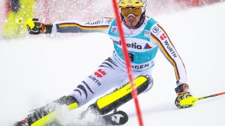 Felix Neureuther verpatzte den ersten Lauf in Adelboden. Foto: Jean-Christophe Bott/KEYSTONE