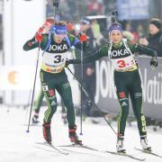 Simon Schempp (l) und Franziska Preuß bei der World Team Challenge in Gelsenkirchen. Foto: Friso Gentsch