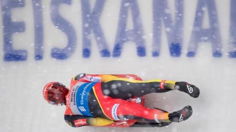 Felix Loch rast im Eiskanal von Altenberg zum Sieg. Foto: Sebastian Kahnert