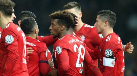 Der Mann des Spiels aus Sicht des FC Bayern: Kingsley Coman (Mitte).