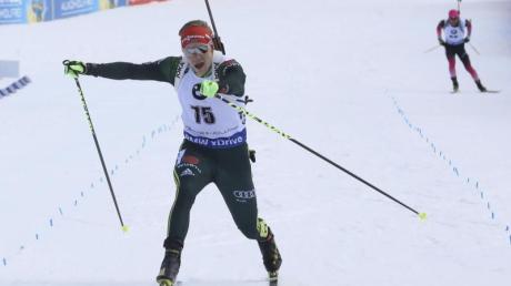 Roman Rees sprintete beim Biathlon-Weltcup in Soldier Hollow auf den dritten Platz. Foto: Rick Bowmer/AP/dpa