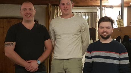 Die Gaumeister der Herren: (von links) Thomas Horgai, Benedikt Lechner (beide Tödtenried) und Florian Münch (Kleinberghofen).