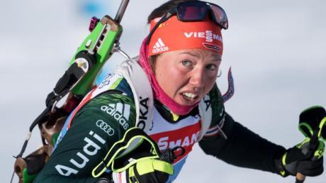 Doppel-Olympiasiegerin Laura Dahlmeier geht heute mit der deutschen Mixedstaffel auf Medaillenjagd. Foto: Sven Hoppe