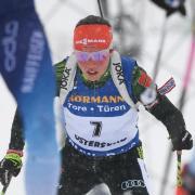Laura Dahlmeier beendete das Rennen nach vier Strafrunden als Sechste. Foto: Sven Hoppe