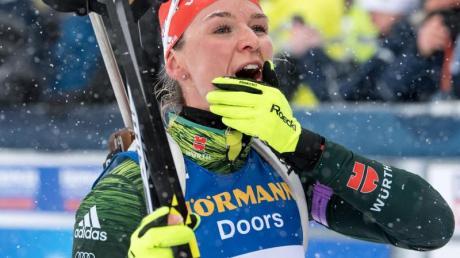 Geht optimistisch in den Saisonkehraus: Biathletin Denise Herrmann. Foto. Sven Hoppe