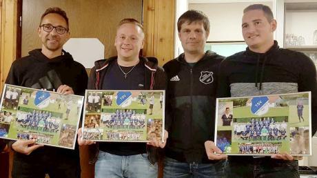 Abteilungsleiter Alexander Wager (Zweiter v. rechts) bei der Verabschiedung von Harald Leinfelder, Chris Luderschmid und Sandro Moreno (von links).