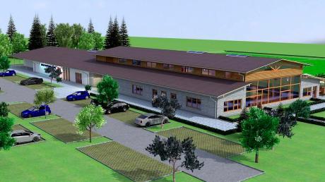 So sieht das Bürger- und Vereinszentrum in Denklingen in der Animation aus, nachdem es kostenmäßig um ein Drittel abgespeckt wurde.