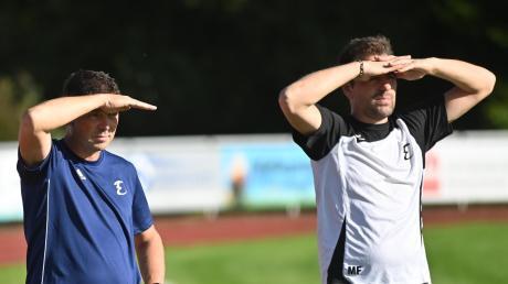 Wohin führt der Weg des TSV Dinkelscherben? Nach drei Niederlagen in Folge steckt der Aufstiegskandidat im Abstiegskampf. Doch Trainer Michael Finkel (rechts) und sein Assistent Harald Fürst stellen sichder Herausforderung.