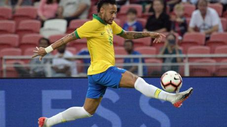 Spielte zum 100. Mal für die brasilianische Nationalmannschaft: Neymar. Foto: Then Chih Wey/XinHua/dpa