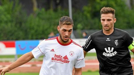 Burhan Bytyqi (links) will mit dem SV Mering auch beim SC Olching etwas Zählbares erreichen.