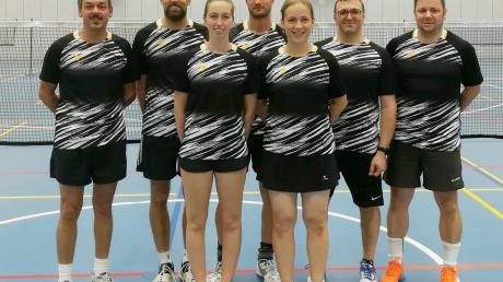 Die erste Badminton-Mannschaft des TSV Nördlingen beim Spieltag in Memmingen (von links): Roger Schwarz, Ulrich Rommel, Anette Turzer, Richard Fischer, Conny Estner, Heiko Wiedemann und Jens Jäckle.