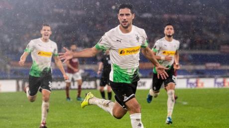 Lars Stindl rettete Gladbach in letzter Minute einen Punkt bei AS Rom. Foto: Marius Becker/dpa