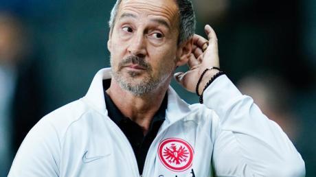 Frankfurts Trainer Adi Hütter freute sich über den Sieg gegen Standard Lüttich. Foto: Uwe Anspach/dpa