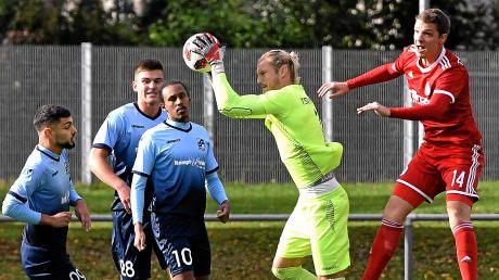 Kim Anders, Torwart des TSV Neu-Ulm steht nach einer Rotsperre wieder zur Verfügung. Noch ist aber fraglich, ob er gegen Echterdingen spielen wird.
