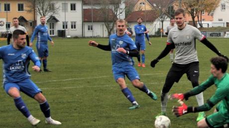 Die beiden Aufsteiger SpVgg Langerringen (blaue Trikots) und SpVgg Lagerlechfeld wollen ihre guten Positionen behaupten.