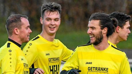 Patrick Eckers, David Kienle und Sebastian Schwegle (von links) gehen mit dem TSV Mindelheim als Tabellenführer ins neue Jahr.