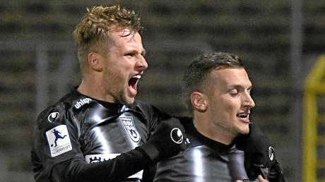 Das Duo des Ulmer Siegtreffers gegen Offenbach: Marcel Schmidts gab die Vorlage, Ardian Morina vollendete.