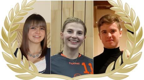 Wer wird der Sportler des Monats? Schützin Veronika Pfaffenzeller, Volleyballspielerin Rebecca Breitsameter (Mitte) oder Tänzer Alexander Heise (rechts). Sie entscheiden, wer gewinnt. So können Sie mitmachen.