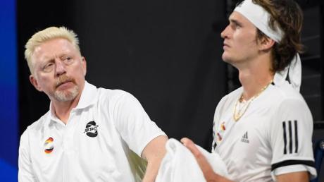 Team-Kapitän Boris Becker und Alexander Zverev beim ATP Cup in Australien.
