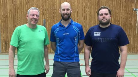 Thomas Gräbner (Mitte) holte sich den Titel KSC-TT-Vereinsmeister 2020 vor Peter Fuchs (links) und Florian Schneider.