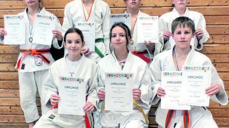 Die erfolgreichen Wemdinger Judokas: (Knieend von links) Anika Rauwolf, Salome Forscht, Samuel Scharr sowie (stehend) Leo Eisen, Benedikt Braun, Jamie Baltzer und Moritz Reitsam.